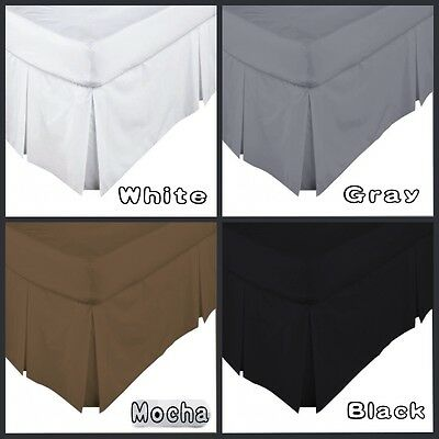 4 Colors 5 Sizes - Box Pleated Valance / Bed Skirt 250 Thread Count Percale New