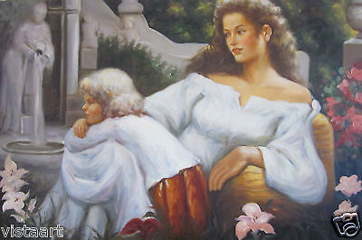 "24""x36"" Hand Painted Oil on High Quality Stretched Canvas ~Mother and Child~"