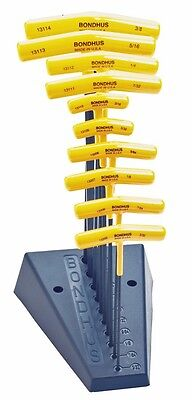 """Bondhus 13190 (3/32-3/8"""") 10pcs SAE USA T-Handle Hex Set with Stand Included"""