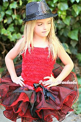 Hot Red Ruffle Baby Girl Tank Tp with Red Black 8 Layer Pettiskirt Set 1-8Year
