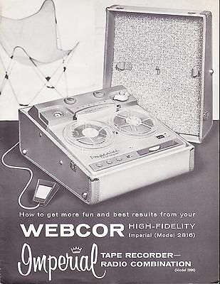 WEBCOR OPERATING MANUAL for a MODEL 2816 TAPE RECORDER