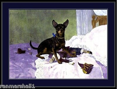 English Poster Print Toy Terrier Chihuahua Dog Vintage Art Picture