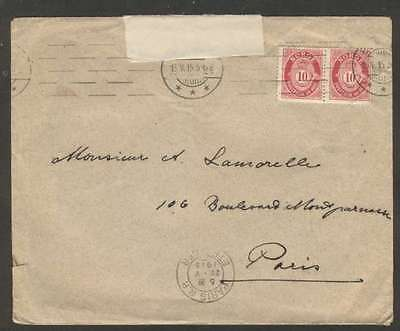 Norway To France Censor Cover 1915 w Pair Stamps L@@K