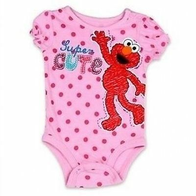 NEW Girls Pink Licensed Sesame Street ELMO Cotton Bodysuit Romper Size 000 00