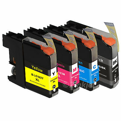 4 Pack New LC103XL HY Ink  (NEW Version CHIP) Fits Brother MFC-J470DW MFC-J475DW