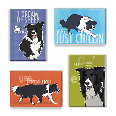Border Collie Gifts Set of Four Refrigerator Magnets with Funny Sayings