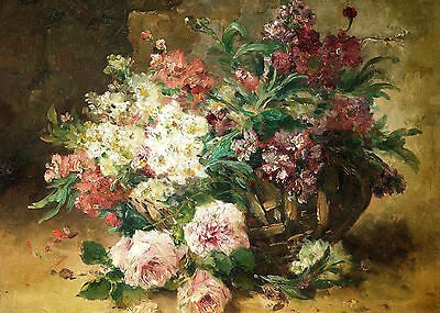Vase Of Poppies And Daisies by Eugene-Henry Cauchois Artwork by Selby Prints