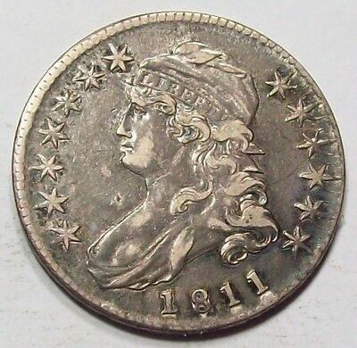 1811 VERY Rare REPUNCHED Date DOUBLING Variety CAPPED BUST HALF DOLLAR ~XF