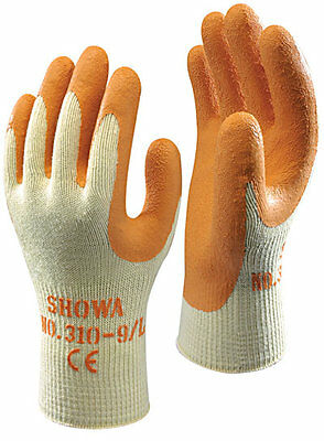 10 pairs of SHOWA 310 Grip Gloves - Latex Palm Coating Orange - All Sizes
