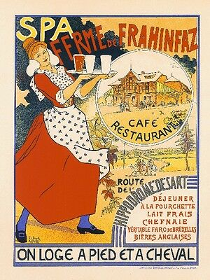 Spa Ferme Cafe Vintage French France Poster Picture Print Advertisement