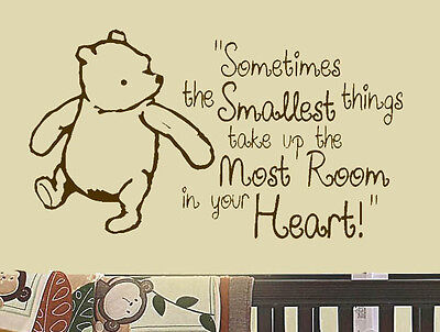 "Classic Winnie the Pooh Saying ""Smallest Things"" Room Decor Vinyl Wall Decal Art"