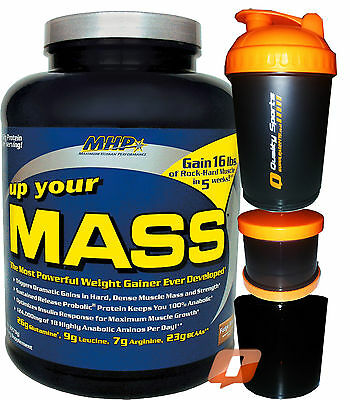 MHP UP YOUR MASS 2LB/5LB/10LB PROTEIN WEIGHT GAINER MUSCLE BCAA's LEUCINE + SMAR