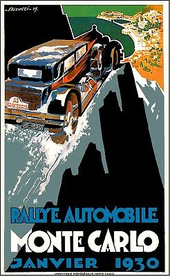 1930 Monte Carlo France French Automobile Car Advertisement Poster