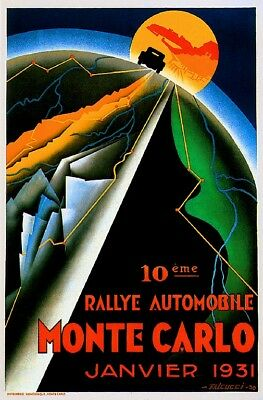 1931 Monte Carlo France French Automobile Car Race Rally Advertisement Poster