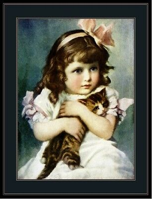 English Picture Print Tabby Cat Kitten Little Girl Vintage Poster Art