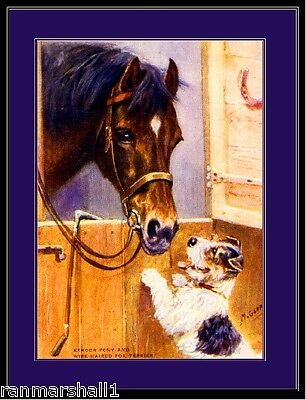 English Picture Print Wire Fox Terrier Dog Pony Horse Art Poster