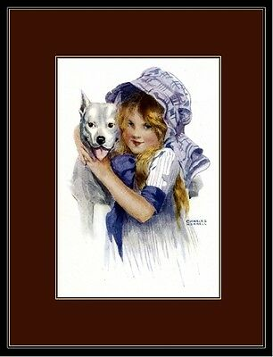 English Bull Terrier Dog and Pretty Little Girl Art Print Picture