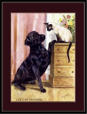 Picture Print Labrador Retriever Dog Siamese Cat Art