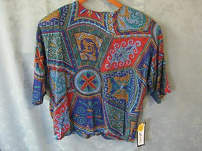 Vintage 80's NWT Size Medium Lee Winter Stained Glass Print Top Made in USA