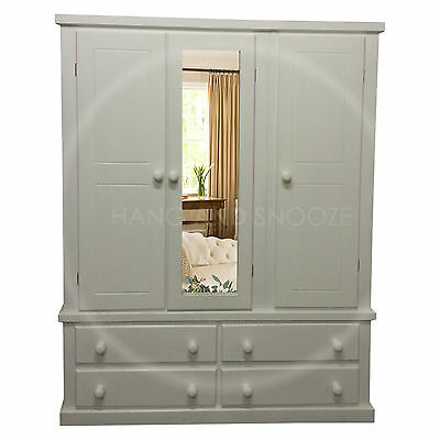 Hand Made Dewsbury Furniture Triple 4 Drawer Mirrored Wardrobe Ivory (Assembled)