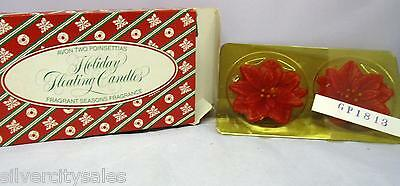 RARE VINTAGE Avon 1983 Holiday Floating Fragrant Seasons Poinsettias Candles Two