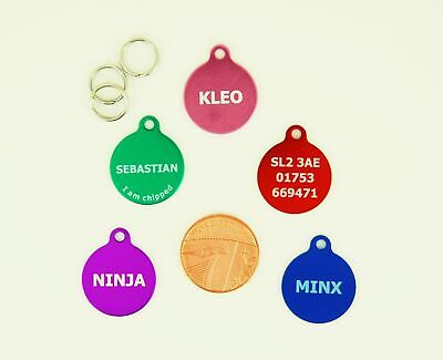 Small Dog Tag, Cat Tag, Anodised Aluminium  Laser engraved  FREE POSTAGE