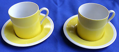 2 FITZ & FLOYD RONDELET - YELLOW FLAT DEMITASSE CUP & SAUCER SETS JAPAN