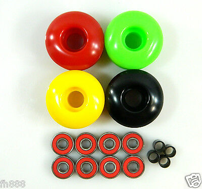 Blank Pro 52mm Rasta Skateboard Wheels + ABEC 7 Bearings + Spacers