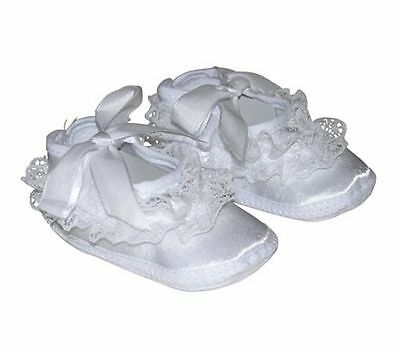 Infant Baptism Crib Shoes Baby White Satin Booties Lace & Ribbon Straps 0-6mo