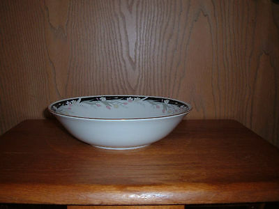 TIENSHAN CHINA 1 RD.VEGETABLE SERVING BOWL  PATTERN MICHELLE BLK BAND WITH TULIP