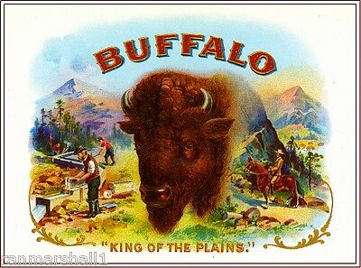 1919 Buffalo Bison Smoke Vintage Cigar Tobacco Box Crate Inner Label Print