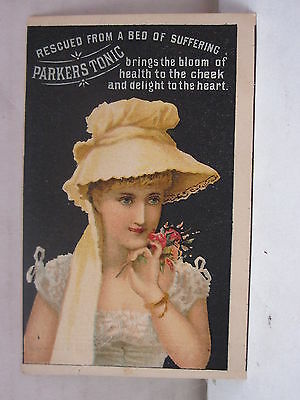 Vintage Rescued From a Bed of Suffering Parker's Tonic New York Trade Card