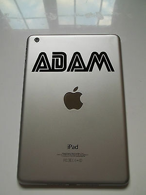 Apple iPad Mini Personalised Name Sticker Retro Font Tablet Vinyl Decal