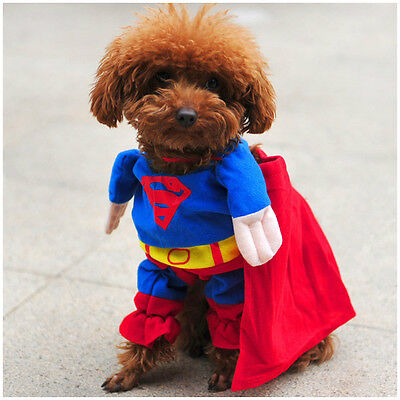 NEW Superman Soft Dress Cosplay Clothes & Mantle For Small Dog Puppy Cat