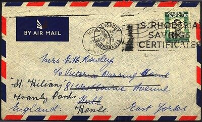 1952 Rhodesia Great Britain Commercial Airmail Cover S29