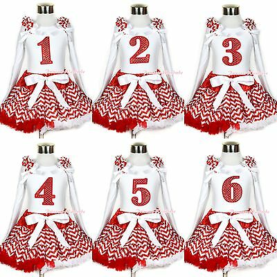 Xmas White Top Red Sparkle Birthday # Red White Wave Streak Pettiskirt Tutu 1-8Y