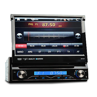 """7"""" Single DIN In Dash GPS NAV Car DVD Stereo Touch Player Bluetooth iPod SWC USB"""