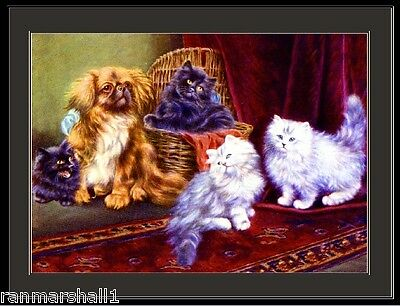English Print Pekingese Dog Persian Cat Art Poster Picture