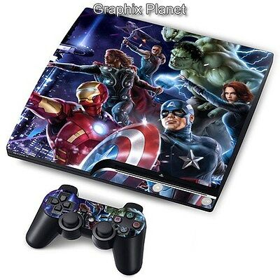 PS3 PlayStation 3 Slim Skin Stickers PVC for Console + 2 Pads Heroes PP