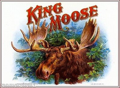 1909 King Moose Smoke Vintage Cigar Tobacco Box Crate Label Print