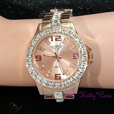 Ladies Rose Gold Plated Princess Square Cut Crystal Bling Statement Dress Watch
