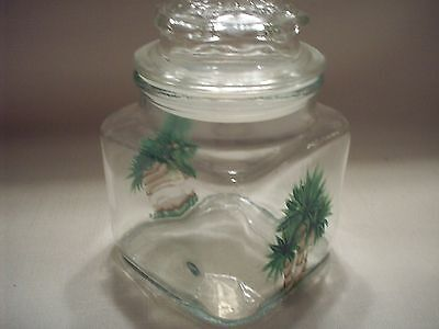 Hand painted Palm tree air tight jar