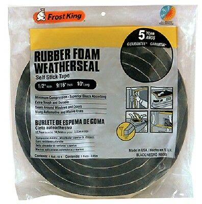 "Thermwell 1/2"" x 9/16"", 10' High Density, Black Foam Weather-Strip Tape,  2 Pack"