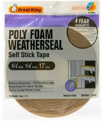 "Thermwell 3/4"" x 1/4"", 17' Brown Foam Weather-Strip Tape, Self Stick,  4 Pack"