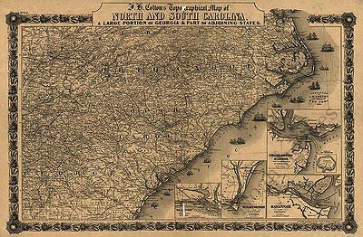 Topographical map of North and South Carolina c1861 repro 36x24