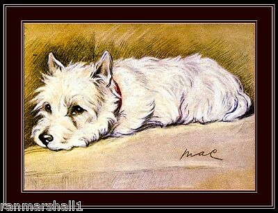 English Picture Print West Highland Terrier Puppy Dog Dogs Vintage Poster Art