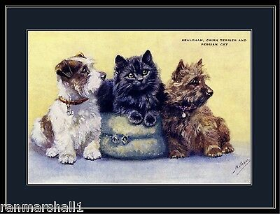 Poster Print Sealyham & Cairn Terrier Puppy Dogs Black Persian Kitten Cat Art