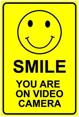 (3 X Signs) Cctv Smile You Are On Video Camera Sign - 300 X 200Mm - Security