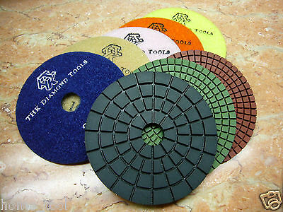 "5"" inch THK Diamond WET polishing pads pad wheel marble granite stone disc (AA)"