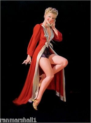 1940s Pin-Up Girl The Red Robe Picture Poster Print Art